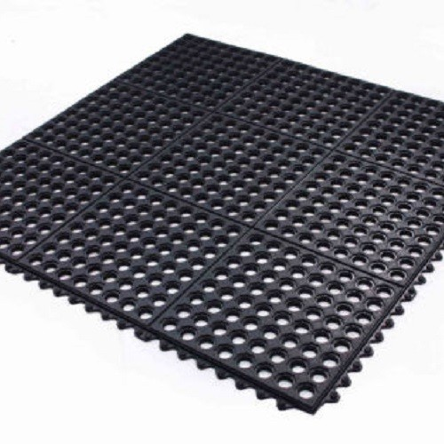 Interlocking Rubber Safety Mat Wet Holes Restaurant Bar Tack Room Garage
