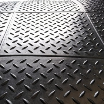 Heavy Duty 14mm Interlocking 900 x 900mm Checker Rubber Gym Floor Tiles